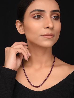 Natural Corundum Ruby Beaded Necklace