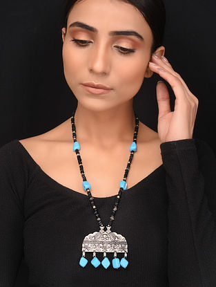 Natural Black Onyx and Turquoise Beaded Necklace