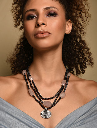 Rose Quartz And Onyx Silver Tone Beaded Necklace