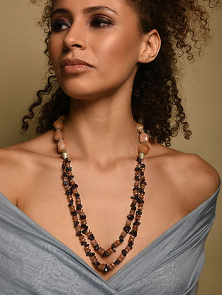 Sand Stone Garnet And Agate Beaded Necklace