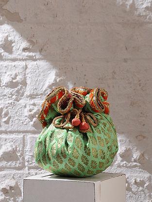 Green Handcrafted Brocade And Silk Potli With Latkans