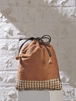 Brown Handcrafted Chroma Silk Potli