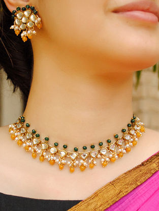 Green Orange Gold Tone Kundan Necklace With Earrings