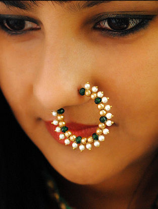 Green Gold Tone Beaded Nath With Pearls