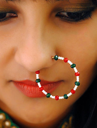 Green Red Beaded Nath With Pearls