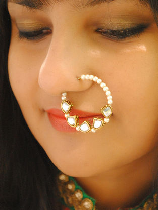 White Gold Tone Pearl Beaded Kundan Nath