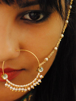 Gold Tone Kundan Pearl Beaded Nath
