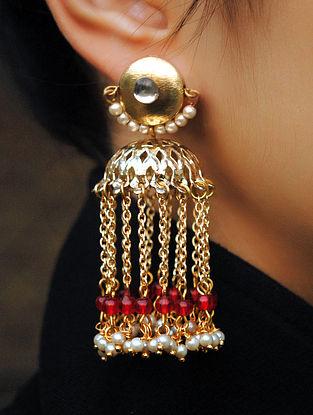 Red Gold Tone Kundan Pearl Beaded Jhumki Earrings