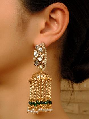 Green Gold Tone Kundan Jhumki Earrings With Pearls