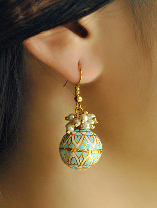 White Blue Gold Tone Enameled Earrings With Pearls