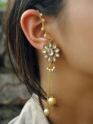 Gold Tone Kundan Pearl Beaded Earrings With Ear Chains