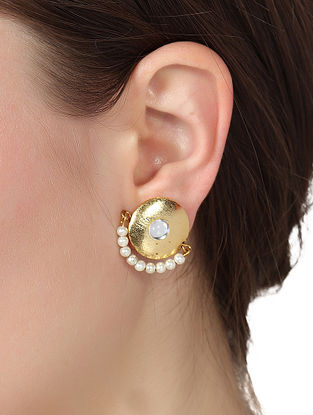 Gold Tone Pearl Beaded Earrings
