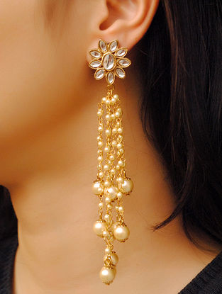 Gold Tone Kundan Pearl Beaded Earrings