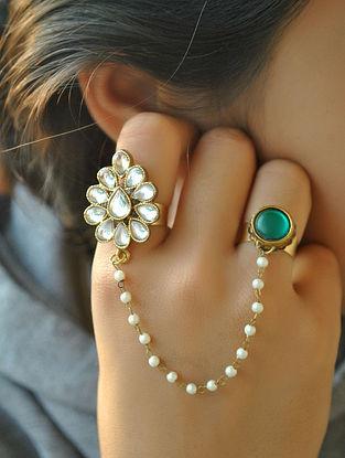 Green Gold Tone Kundan Ring With Pearls