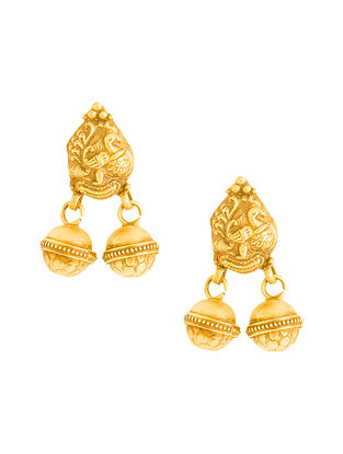 Gold Plated Sterling Silver Earrings with Peacock Motif