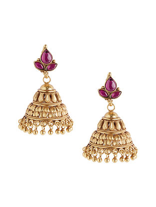 Spinel Ruby Gold Plated Sterling Silver Jhumkis