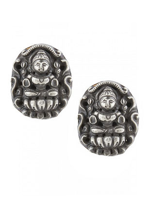 Tribal Sterling Silver Stud Earrings with Deity Motif