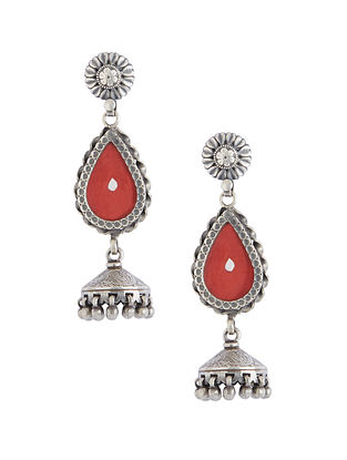 Red Glass Tribal Sterling Silver Jhumki Earrings