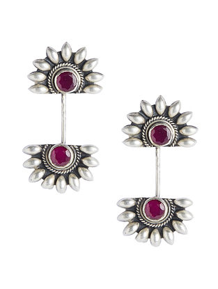 Maroon Tribal Sterling Silver Earrings