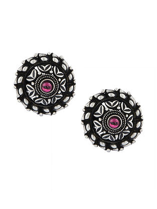 Pink Tribal Sterling Silver Stud Earrings