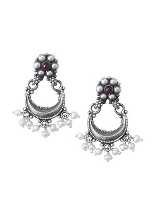 Maroon Tribal Sterling Silver Earrings with Pearls