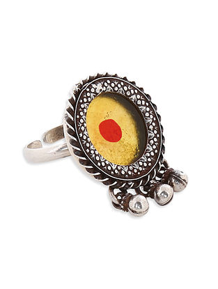 Yellow Red Glass Tribal Sterling Silver Adjustable Ring