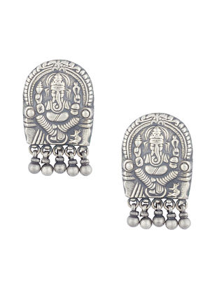 Tribal Sterling Silver Earrings with Lord Ganesha Motif