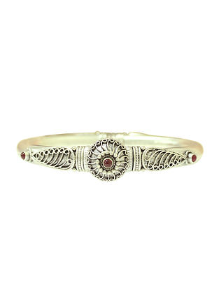 Maroon Tribal Sterling Silver Bangle (Bangle Size: 2/4)
