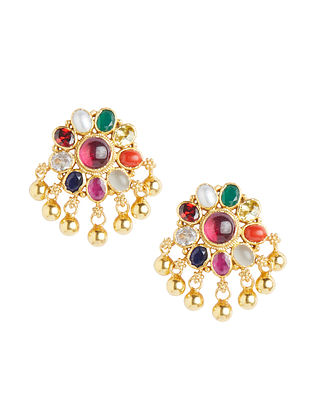 Multicolored Gold Plated Sterling Silver Earrings