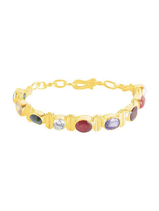 Multicolored Gold Plated Sterling Silver Bracelet