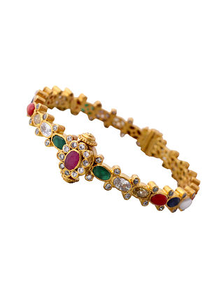 Multicolored Gold Plated Sterling Silver Bangle (Bangle Size: 2/4)