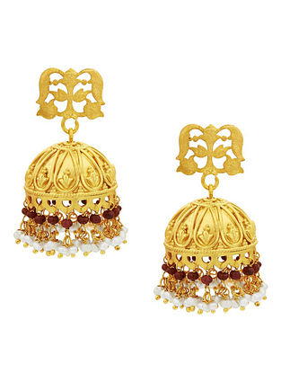 Maroon Gold Plated Sterling Silver Jhumki Earrings with Pearls