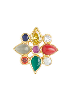 Multicolored Gold Plated Sterling Silver Adjustable Ring