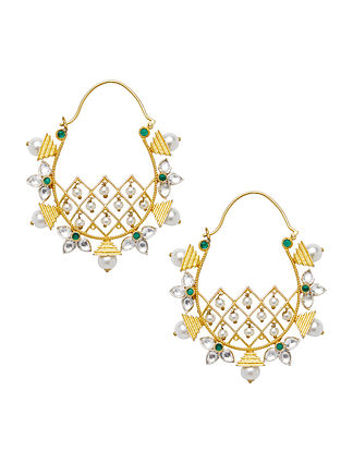 Green Gold Plated Sterling Silver Jadau Earrings with Pearls