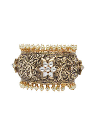 Gold Plated Sterling Silver Jadau Cuff with Pearls