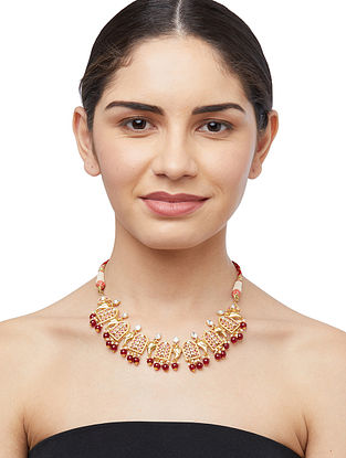 Red Onyx and Pearl Beaded Gold Plated Sterling Silver Jadau Necklace