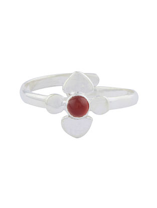 Red Sterling Silver Adjustable Ring