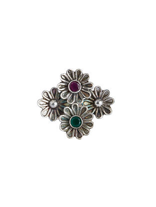 Green Maroon Sterling Silver Adjustable Ring