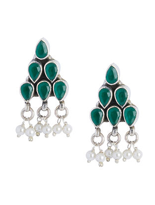 Green Sterling Silver Earrings with Pearls