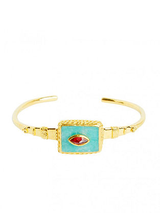 Gold Plated Sterling Silver Cuff with Amazonite and Garnet