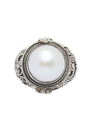 Tribal Sterling Silver Adjustable Ring with Baroque Pearl