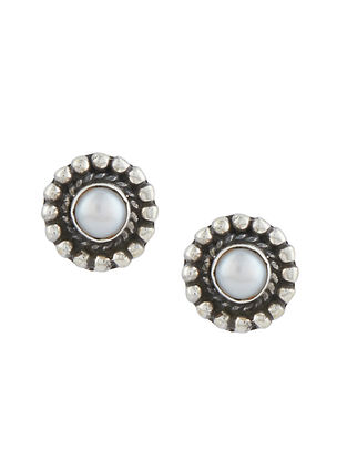 Tribal Sterling Silver Earrings with Mother of Pearl