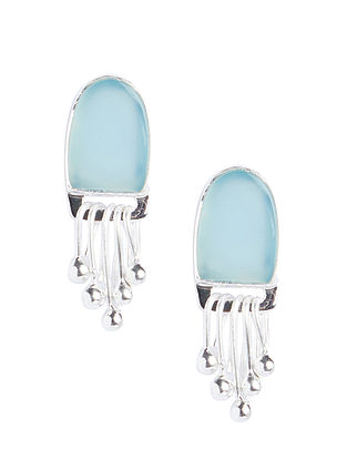 Sterling Silver Earrings with Blue Chalcedony