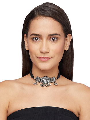 Black Thread Tribal Sterling Silver Necklace with Deity Motif