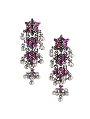 Pink Tribal Sterling Silver Earrings