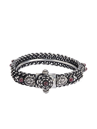 Spinel Ruby Hinged Opening Sterling Silver Bangle (Bangle Size -2/6)
