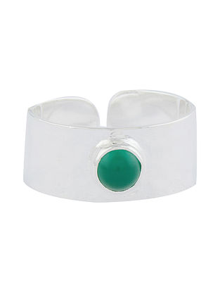 Green Onyx Adjustable Sterling Silver Ring