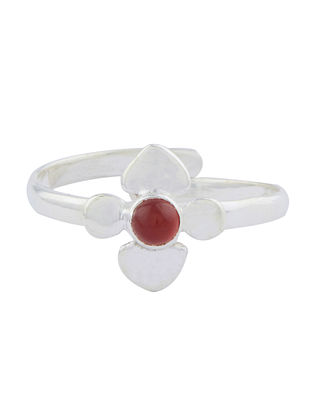 Red Onyx Adjustable Sterling Silver Ring