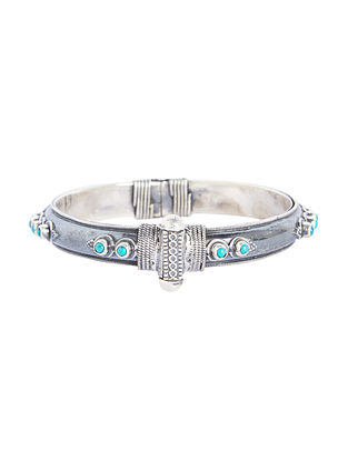 Turquoise Hinged Opening Sterling Silver Bangle (Bangle -2/6)