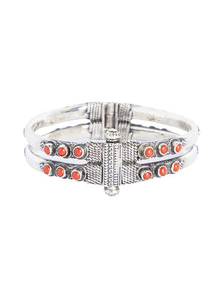 Coral Hinged Opening Sterling Silver Bangle (Bangle Size -2/6)